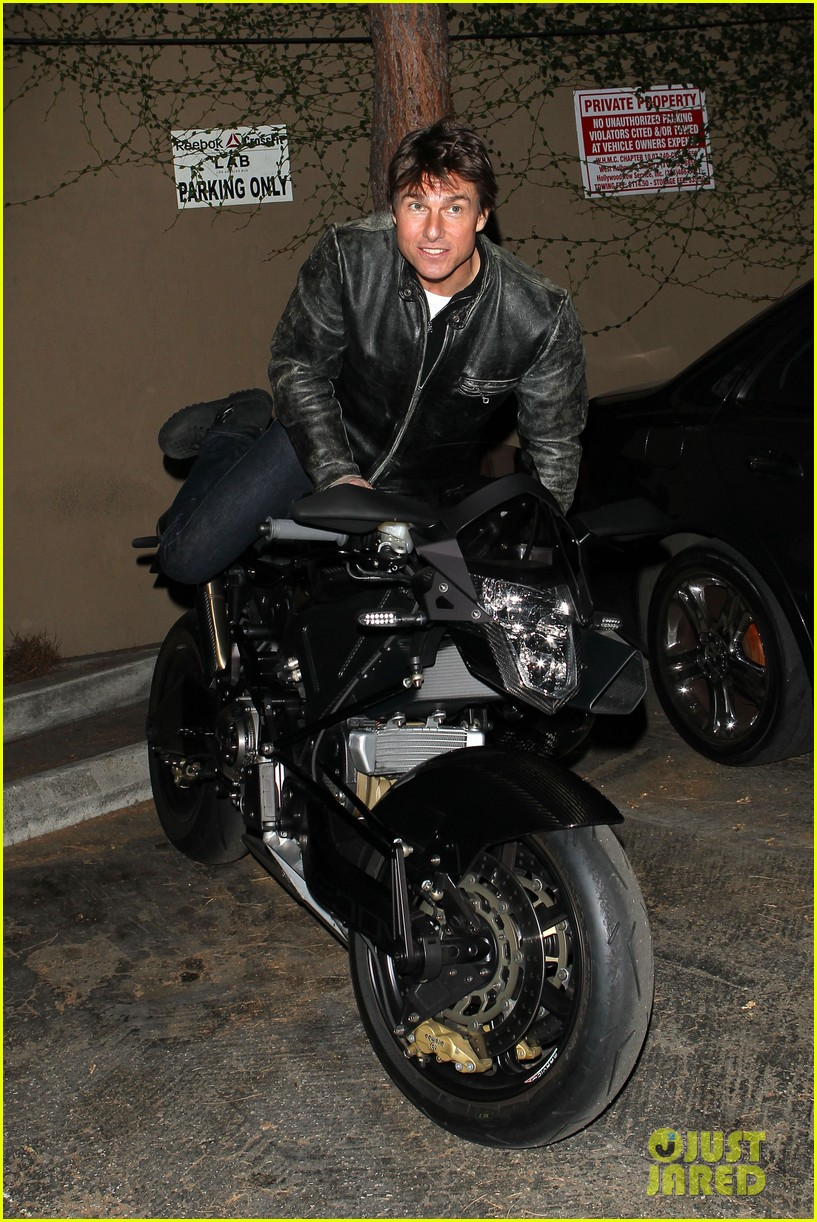 tom cruise rides motorcycle for lucas on sunset dinner outing 212973550