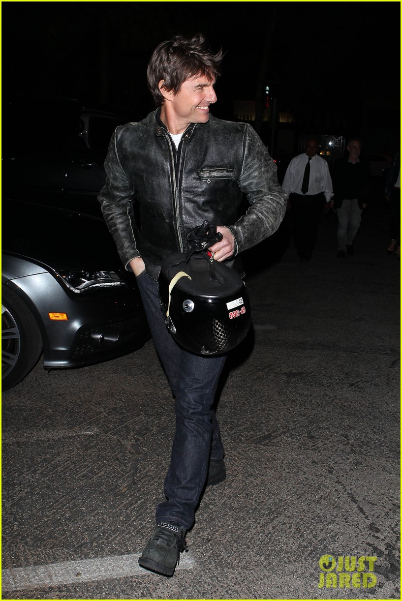 tom cruise rides motorcycle for lucas on sunset dinner outing 272973556