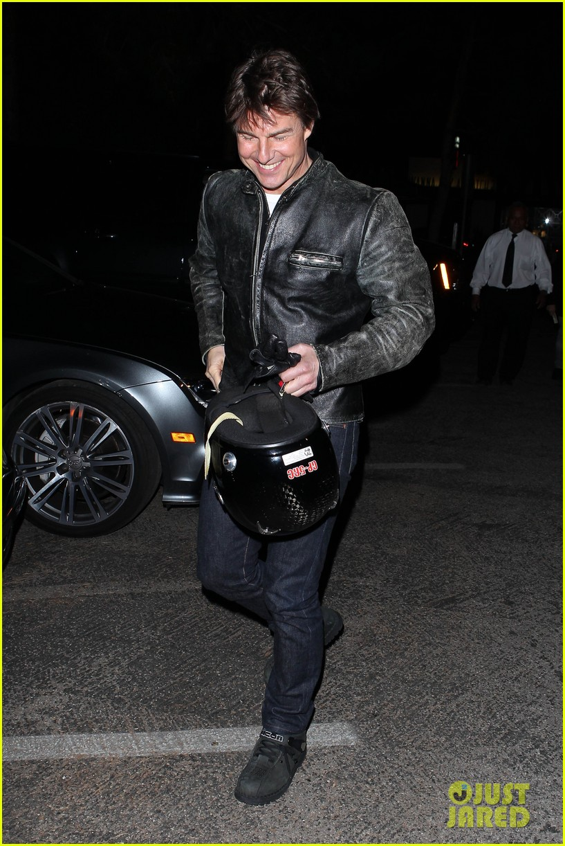 tom cruise rides motorcycle for lucas on sunset dinner outing 282973557
