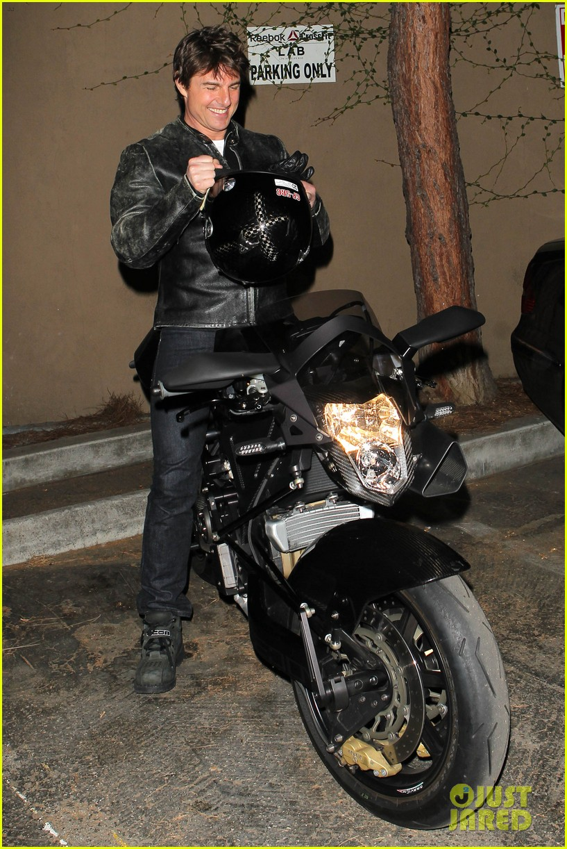 tom cruise rides motorcycle for lucas on sunset dinner outing 302973559