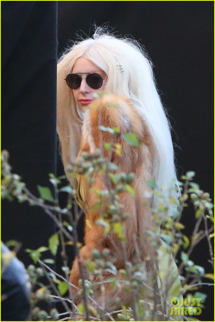 lady gaga wears furry headpeice for artpop promo 152978427