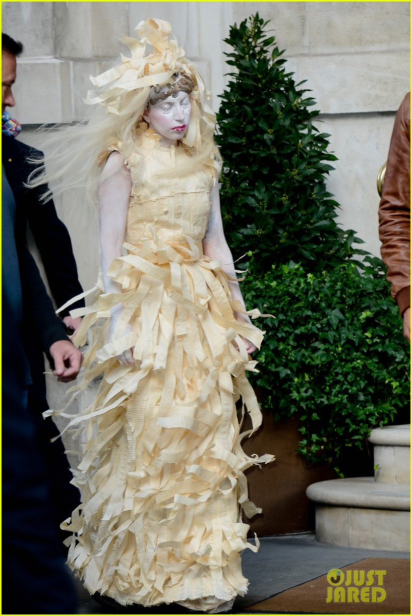 lady gaga steps out in full face powder interesting dress 032981697