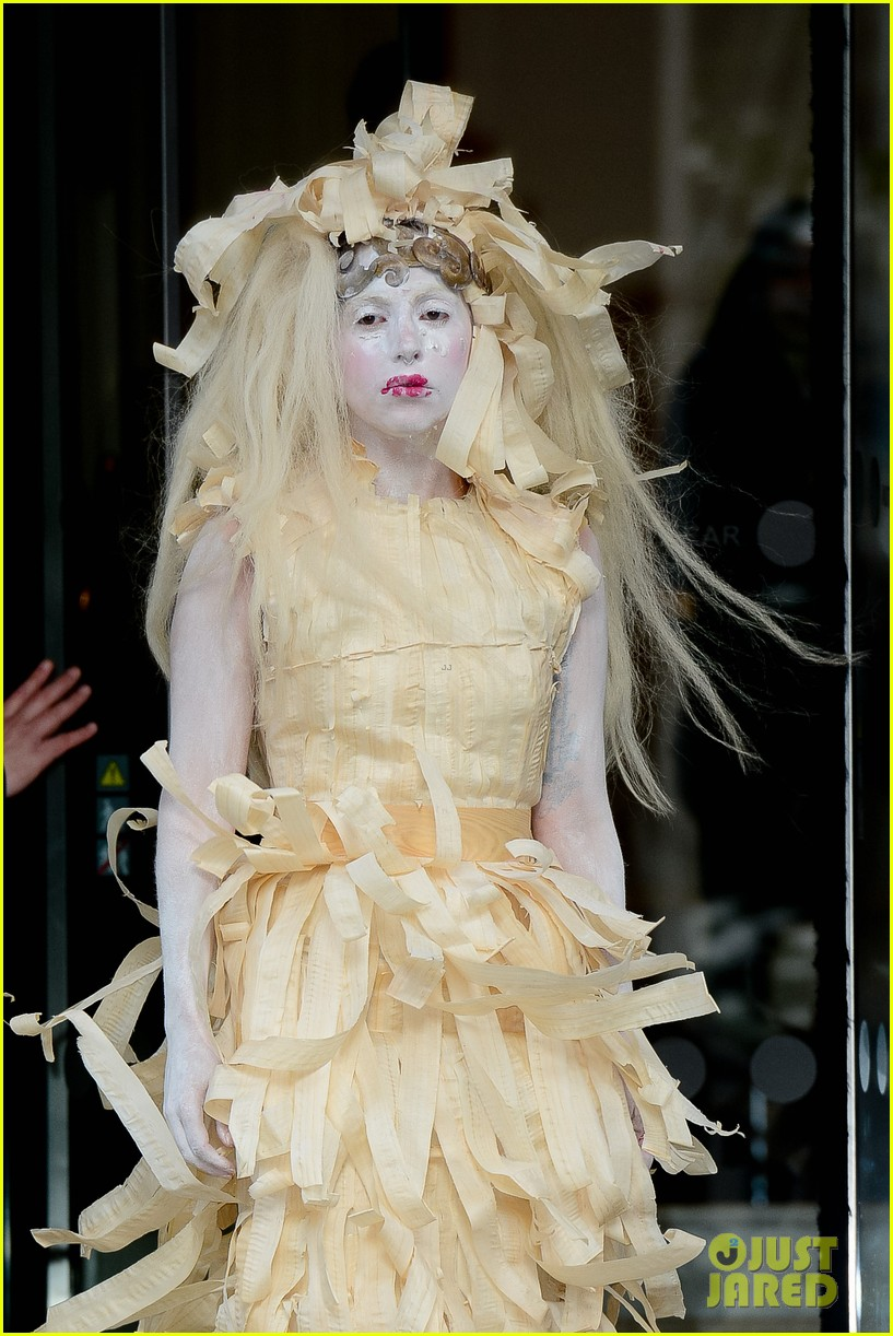 lady gaga steps out in full face powder interesting dress 042981698
