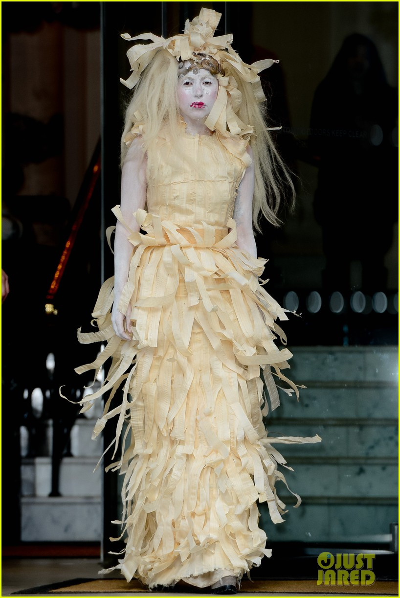 lady gaga steps out in full face powder interesting dress 052981699