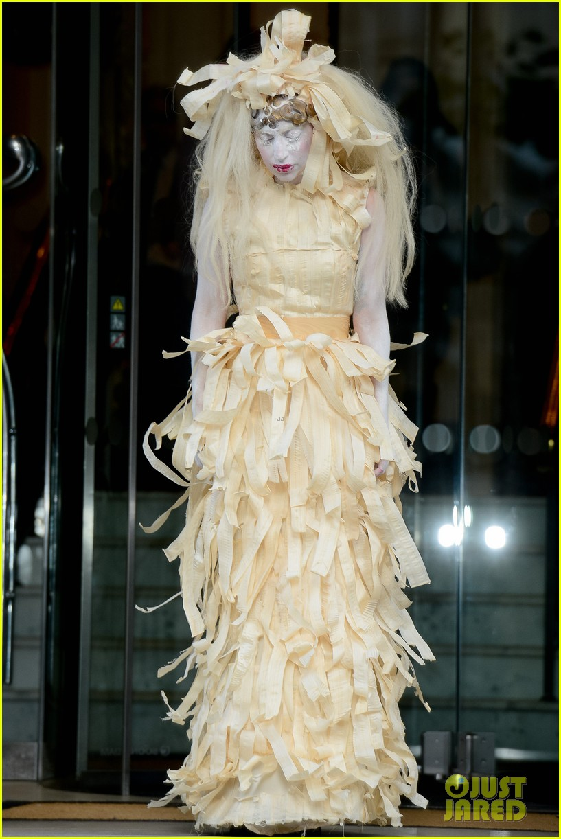 lady gaga steps out in full face powder interesting dress 062981700