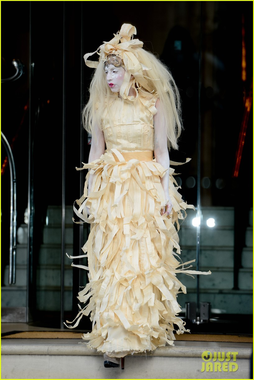 lady gaga steps out in full face powder interesting dress 072981701