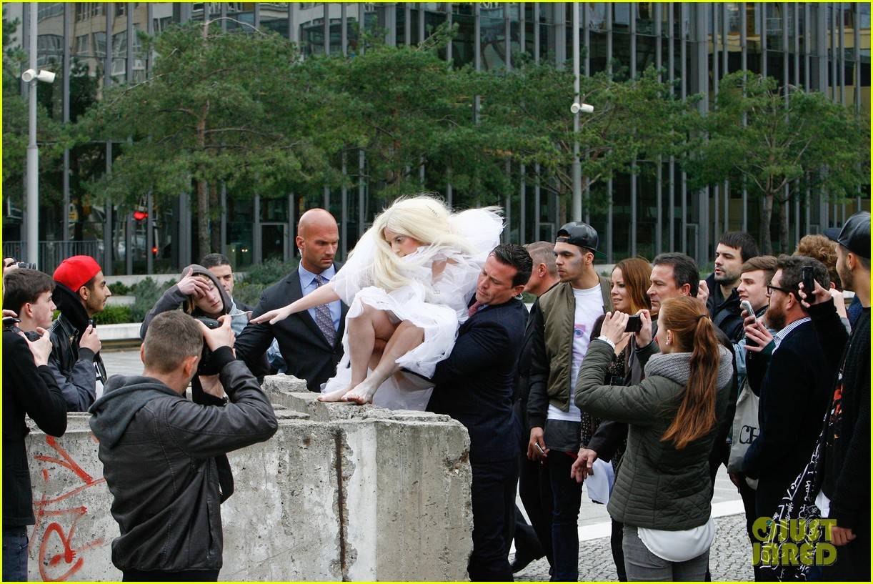 lady gaga naked under sheer cover up at berlin wall 052979055