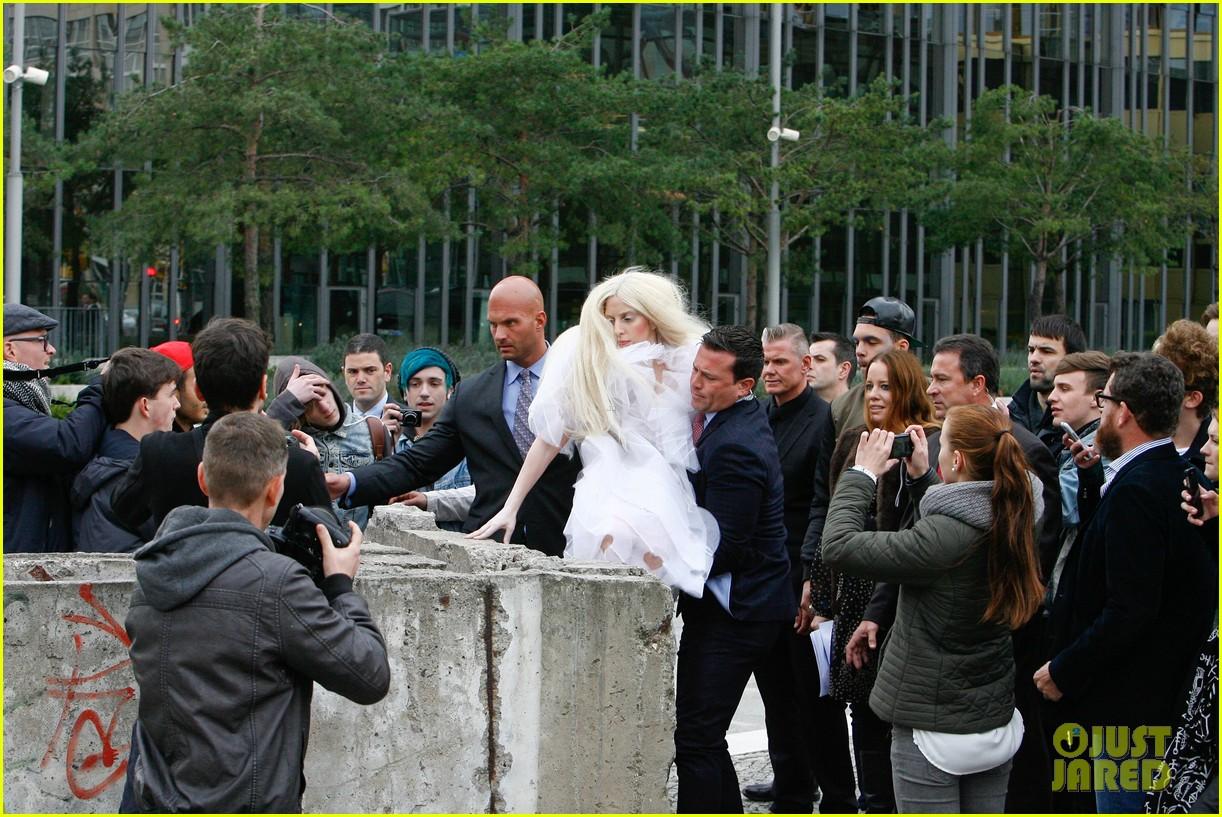 lady gaga naked under sheer cover up at berlin wall 082979058