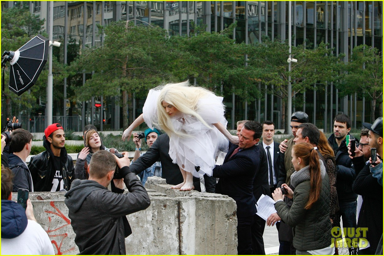 lady gaga naked under sheer cover up at berlin wall 112979061