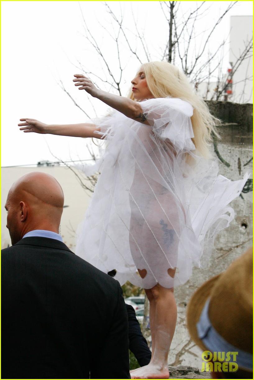 lady gaga naked under sheer cover up at berlin wall 132979063