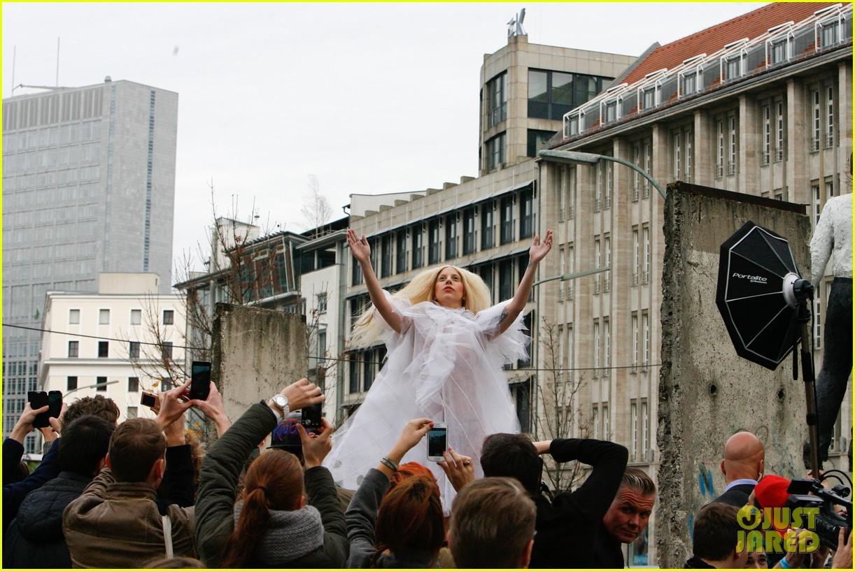 lady gaga naked under sheer cover up at berlin wall 142979064