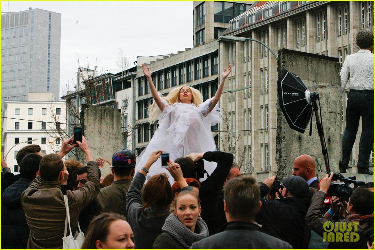 lady gaga naked under sheer cover up at berlin wall 172979067