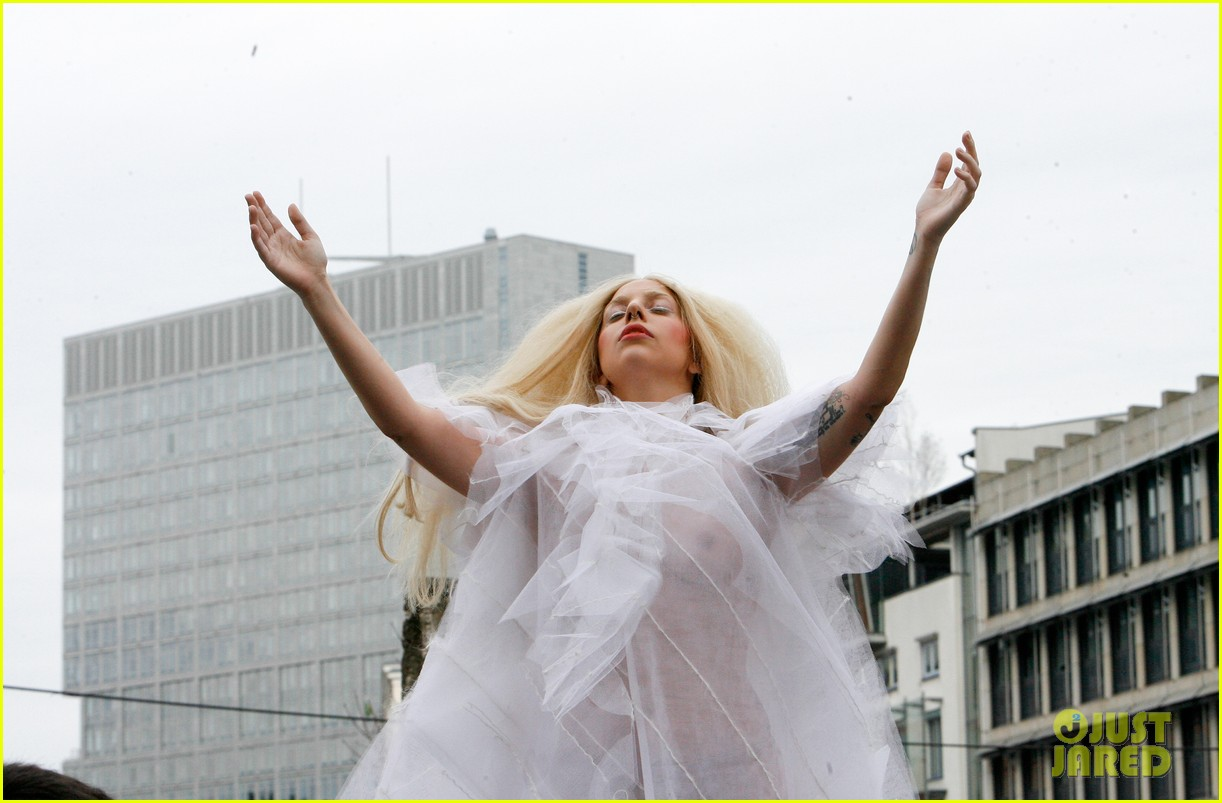 lady gaga naked under sheer cover up at berlin wall 212979071