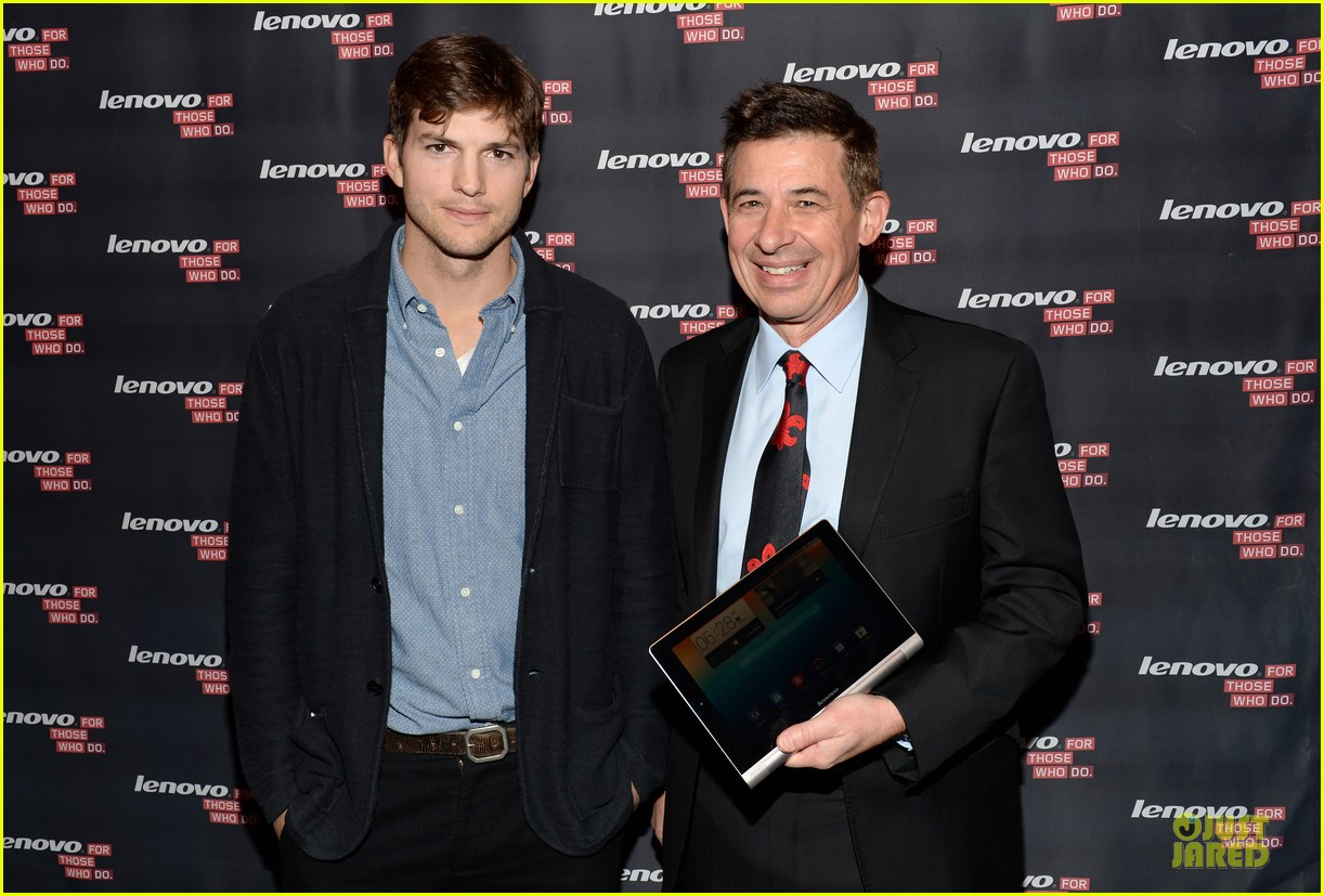 ashton kutcher lenovo product engineer at yoga tablet launch 122982718