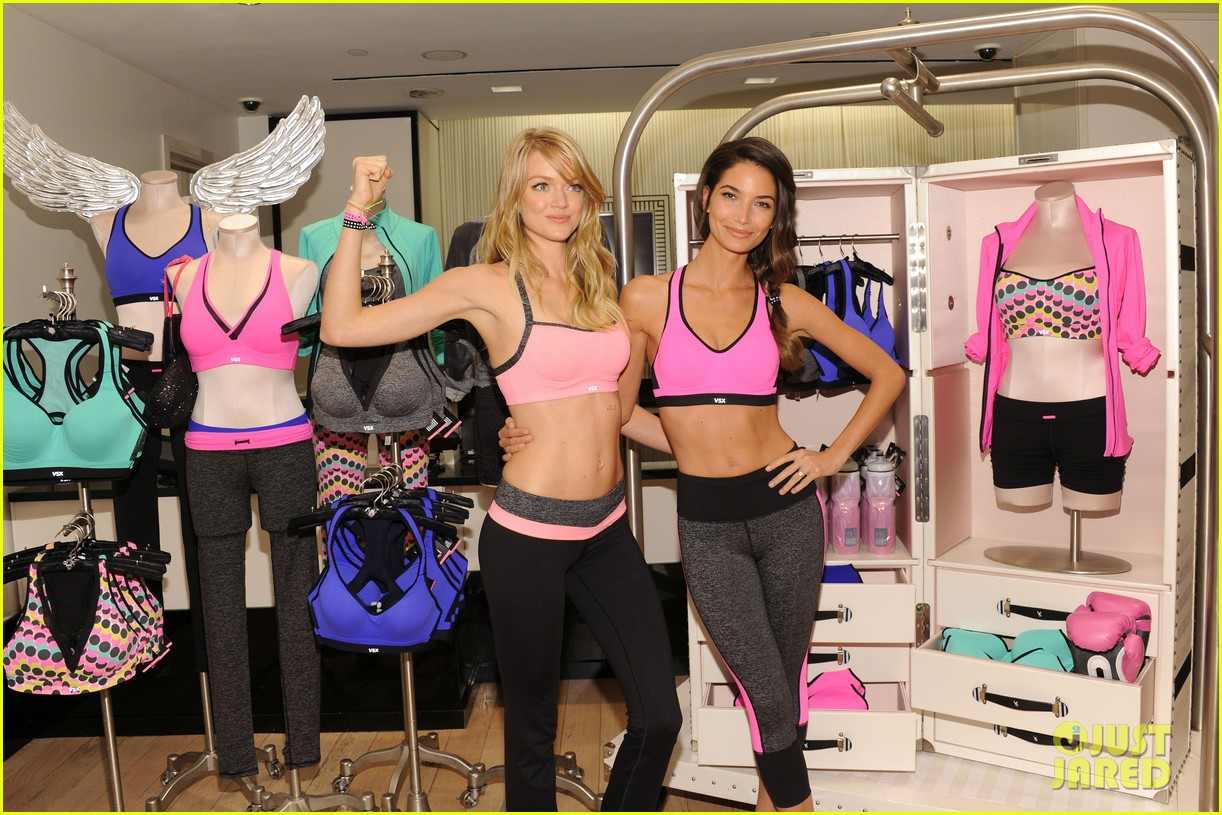 lily aldridge lindsay ellingson display abs at sports bra launch 062977046