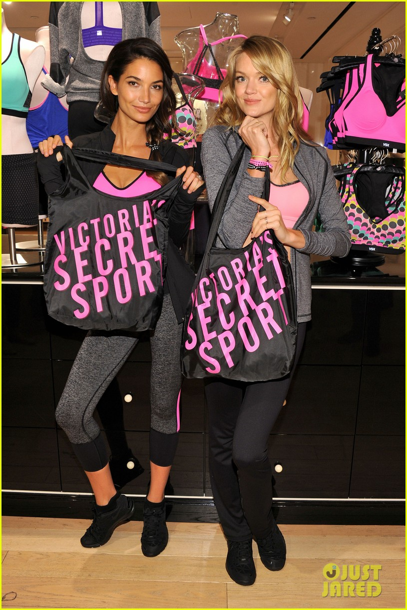 lily aldridge lindsay ellingson display abs at sports bra launch 132977053