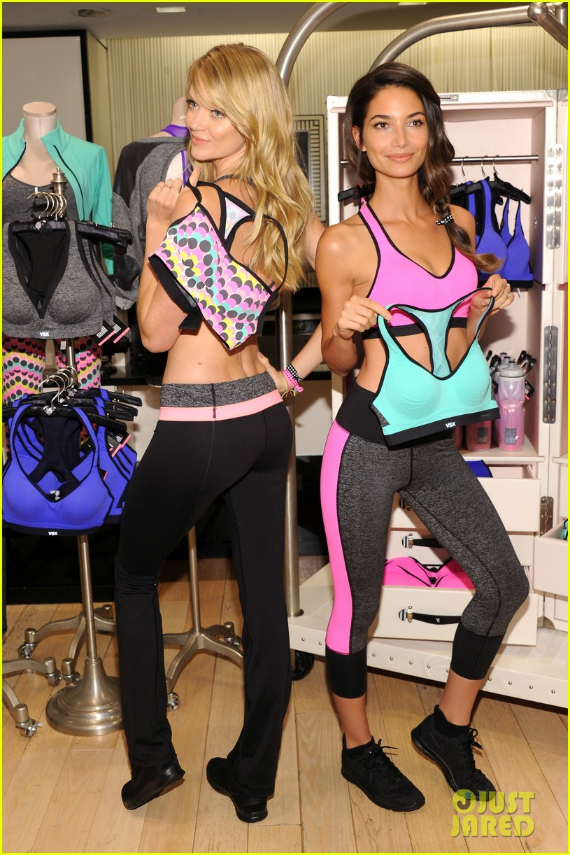 lily aldridge lindsay ellingson display abs at sports bra launch 142977054