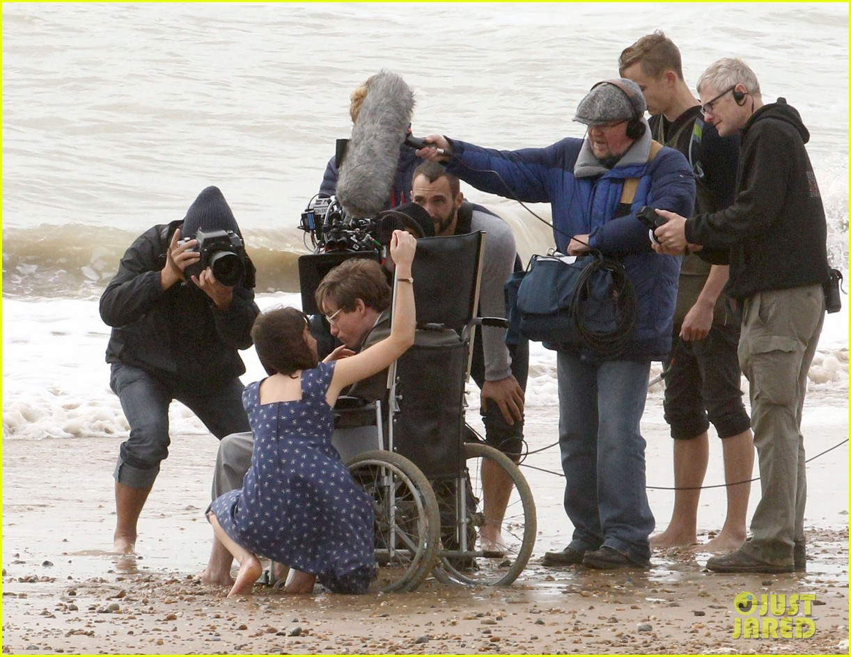 eddie redmayne gets piggy back ride on set 22
