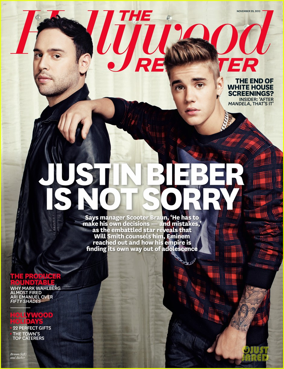justin bieber scooter braun share the cover for thr 012996216