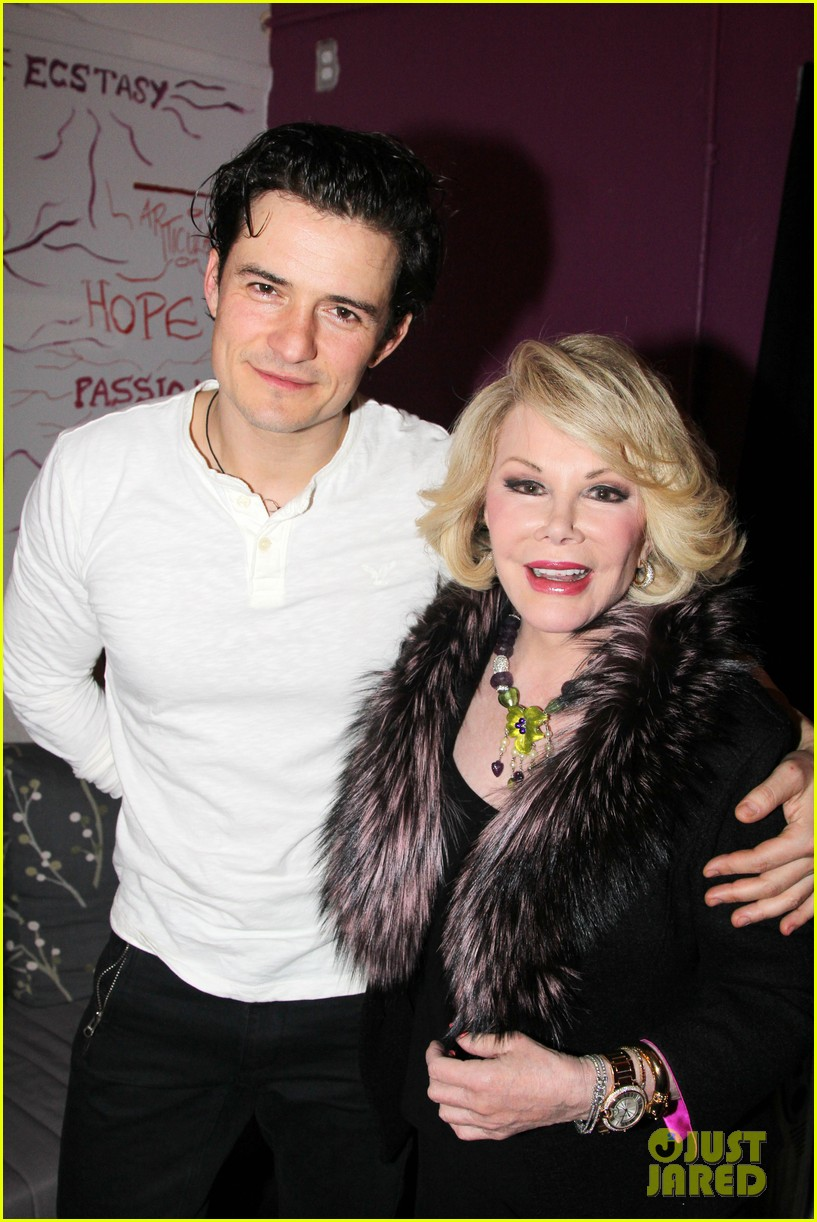 orlando bloom greets original juliet joan rivers backstage 012989657