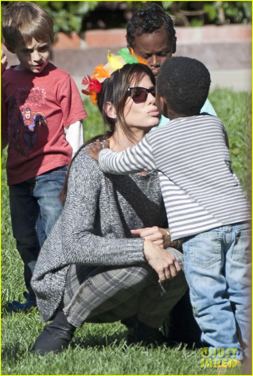 Sandra Bullock Gets Into Thanksgiving Spirit with Son Louis