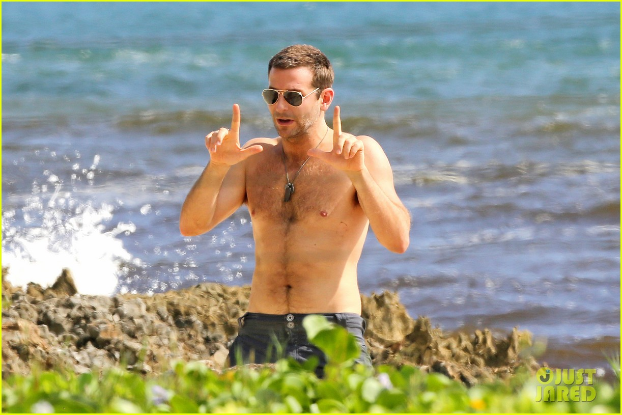 bradley cooper shirtless with john krasinski pregnant bikini clad emily blunt 062996546