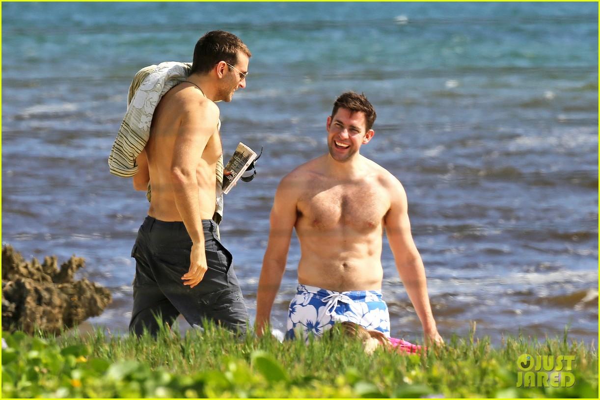 bradley cooper shirtless with john krasinski pregnant bikini clad emily blunt 192996559