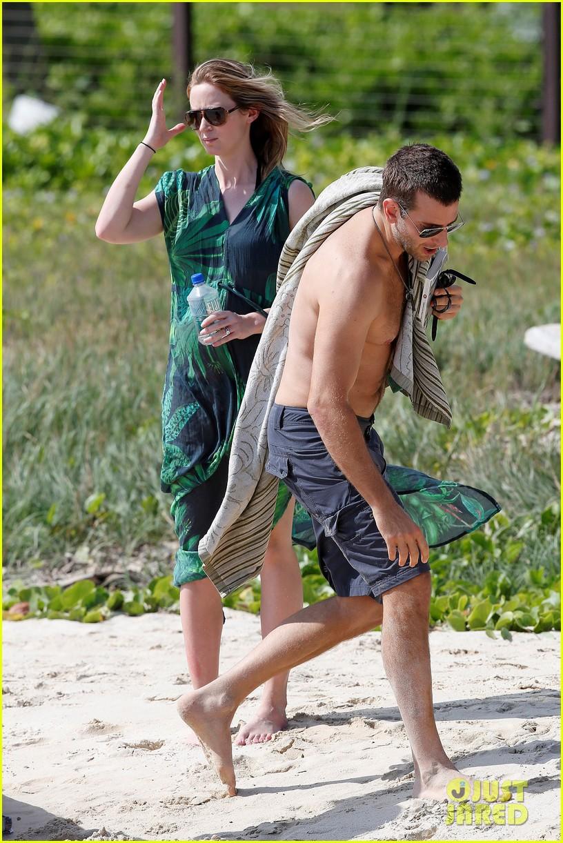 bradley cooper shirtless with john krasinski pregnant bikini clad emily blunt 442996584