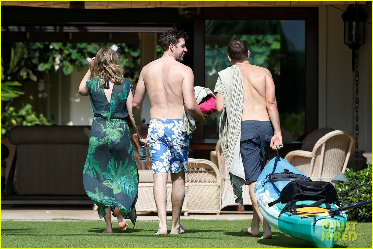 bradley cooper shirtless with john krasinski pregnant bikini clad emily blunt 482996588