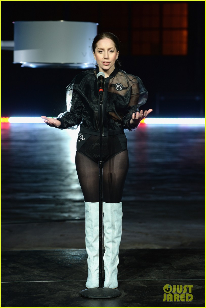 lady gaga debuts flying dress at artrage listening party 182990020
