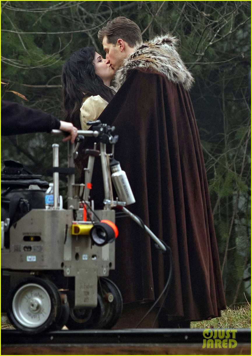 ginnifer goodwin cradles baby bump kisses josh dallas on set 17