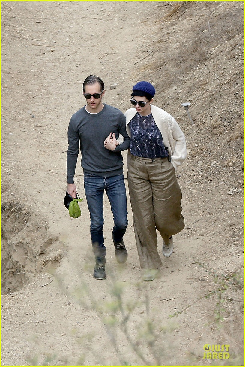 anne hathaway adam shulman hold hands for intimate walk 182994286