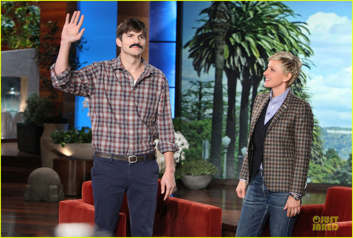 ashton kutcher sports fake movember mustache on ellen 032986844
