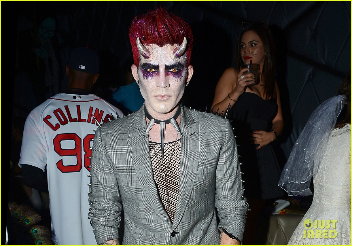 adam lambert hosts halloween party, dresses as ghoulish devil