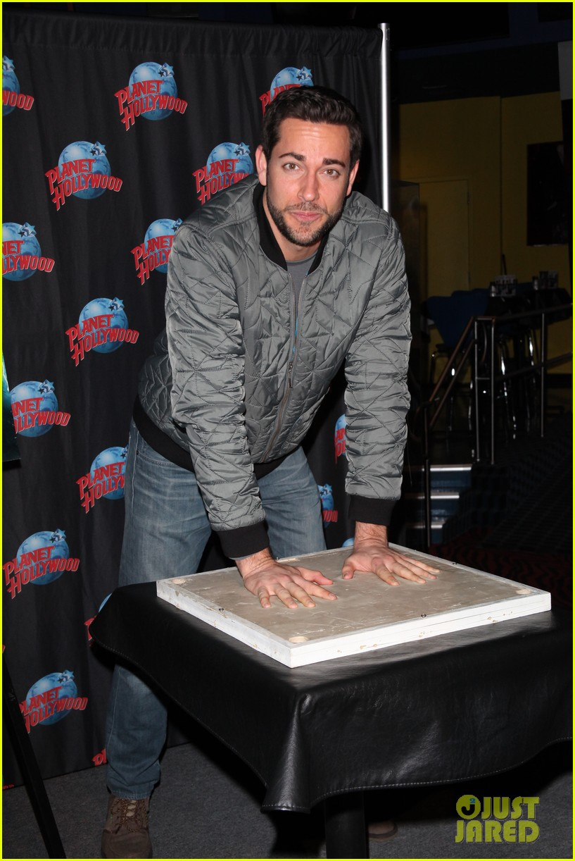 zachary levi planet hollywood handprint ceremony 08