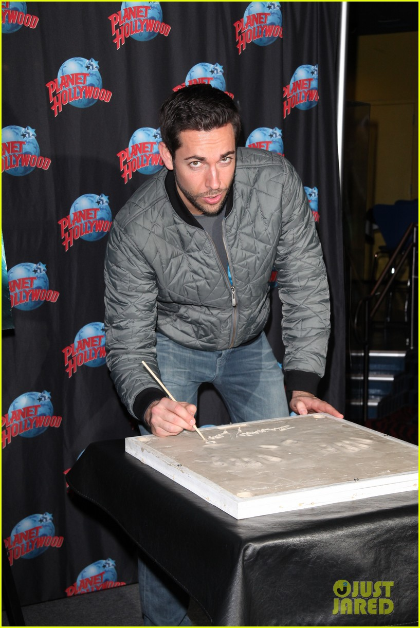 zachary levi planet hollywood handprint ceremony 10