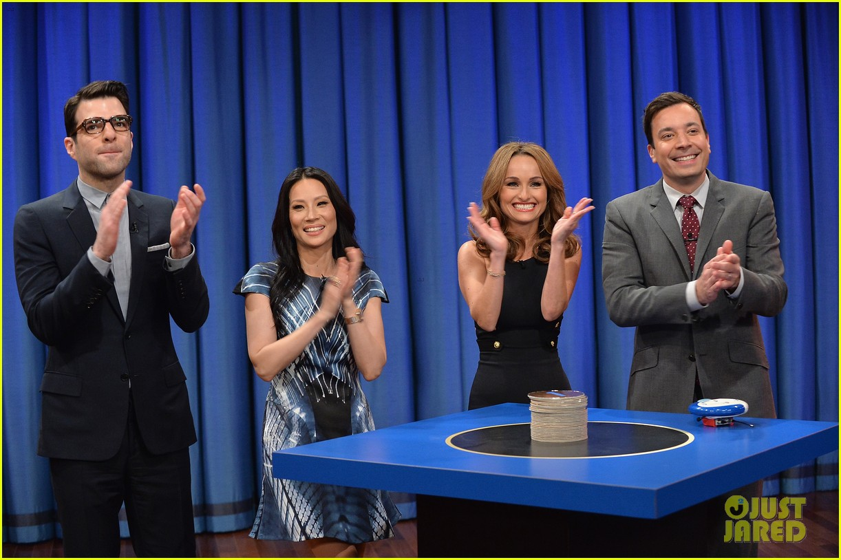 zachary quinto lucy liu play catchphrase on jimmy fallon 072986970