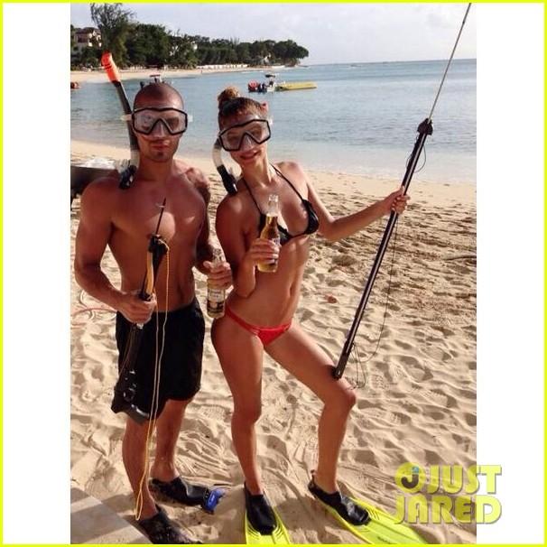 shirtless max george bikini clad nina agdal are a beach couple 013002135