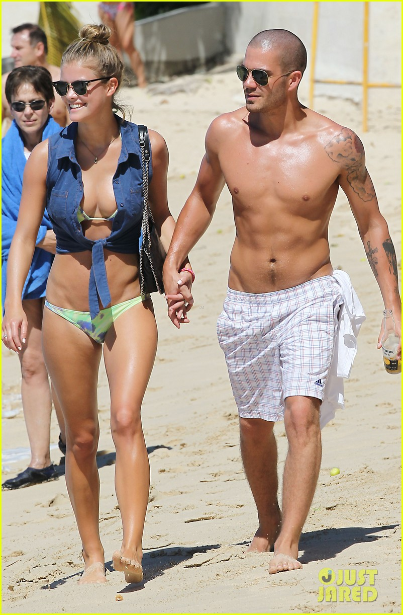 shirtless max george bikini clad nina agdal are a beach couple 033002137