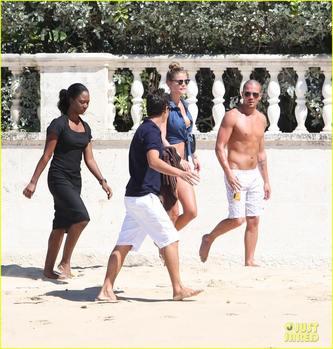 shirtless max george bikini clad nina agdal are a beach couple 053002139