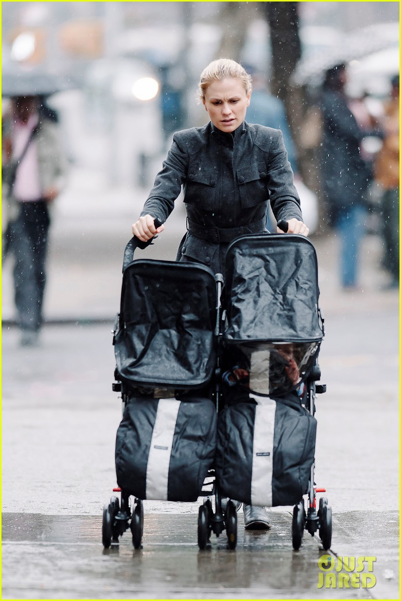 anna paquin pushes adorable twins in double stroller 042984370