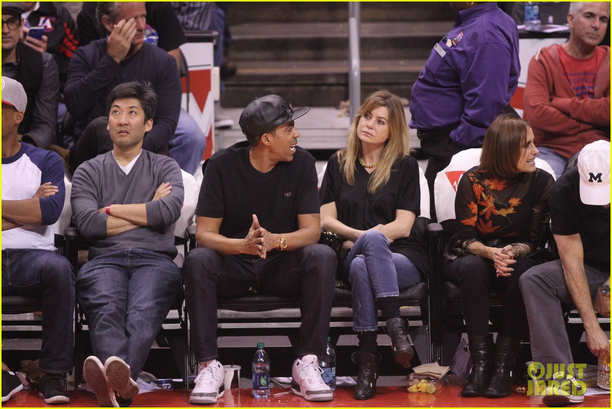 ellen pompeo cheers on the clippers with chris ivery 022995076