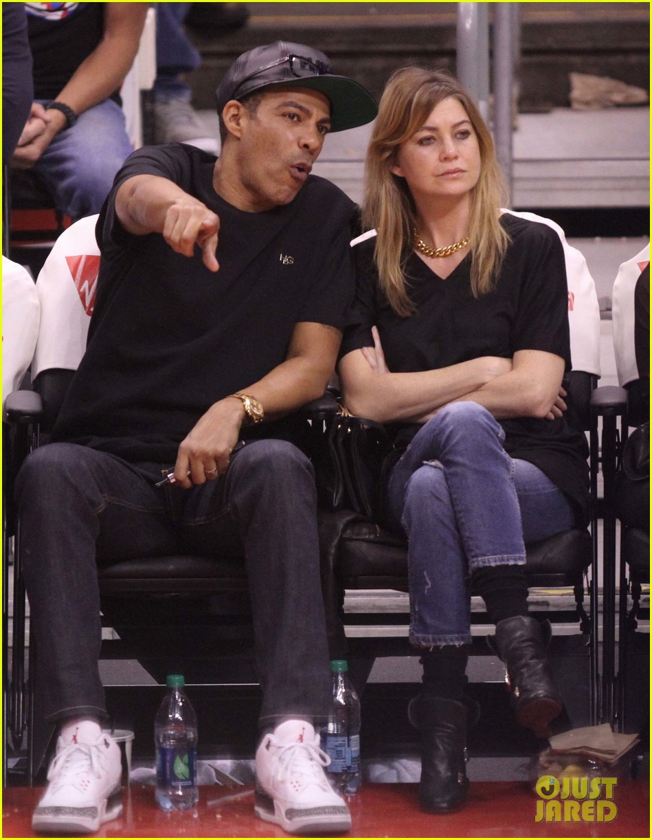 ellen pompeo cheers on the clippers with chris ivery 042995078