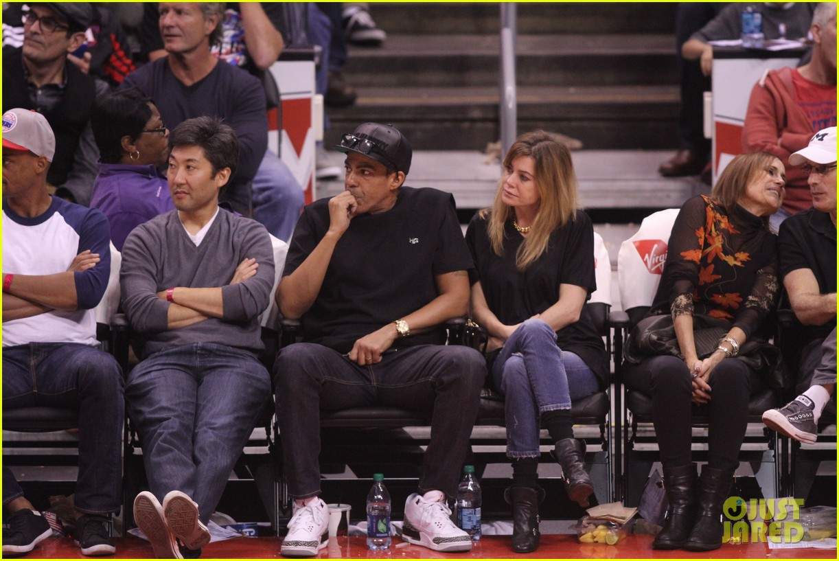 ellen pompeo cheers on the clippers with chris ivery 082995082