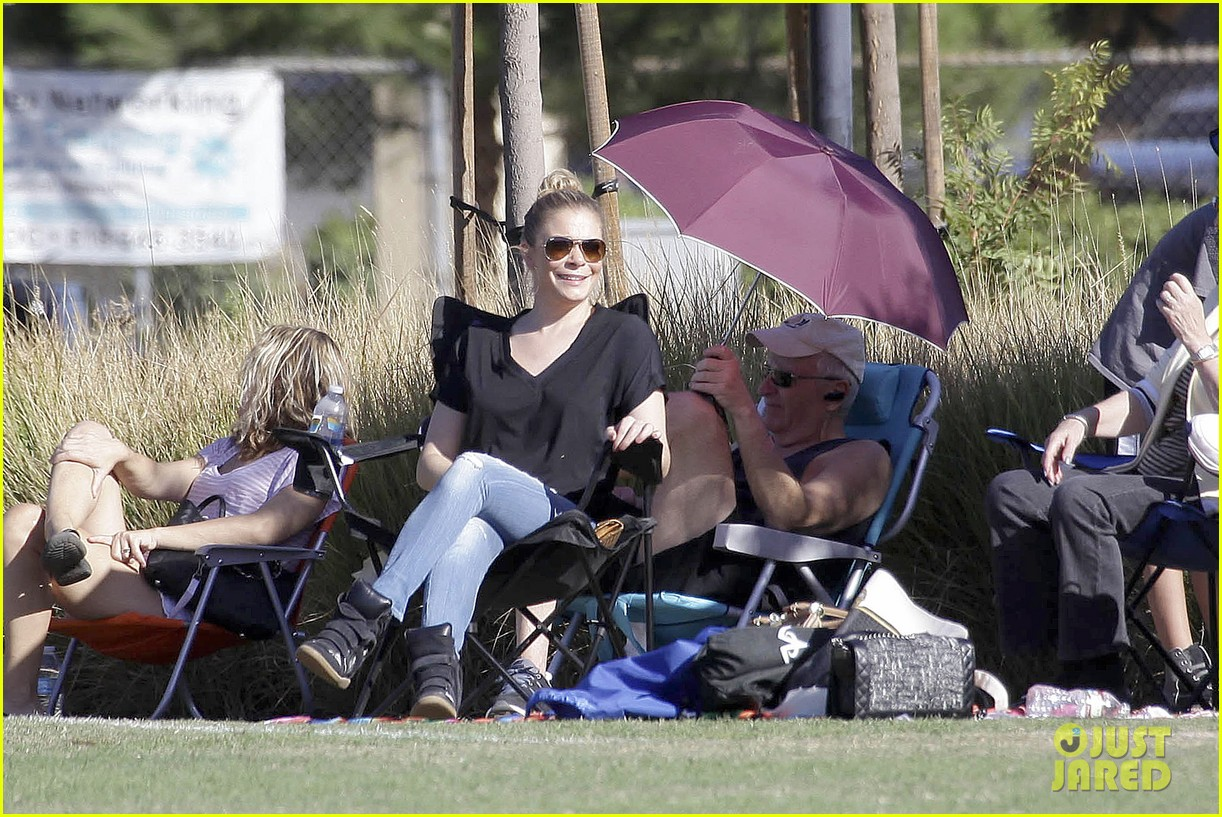leann rimes soccer game with mason jake 182985236