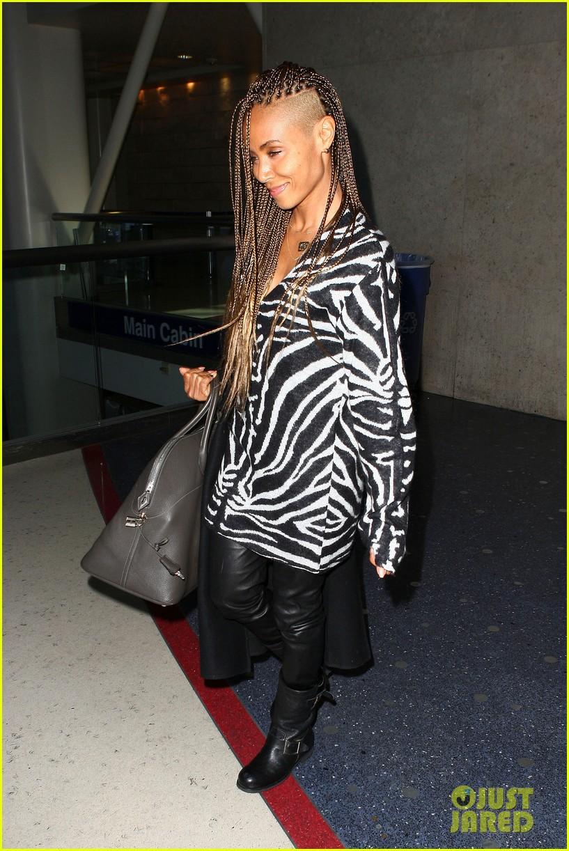 jada pinkett smith long braided hair zeba print at lax 102993248