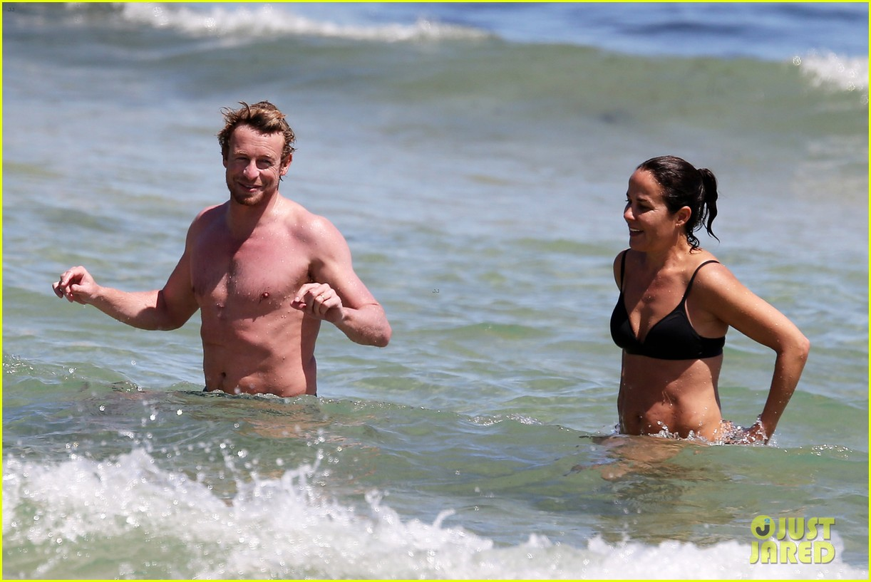 simon baker shirtless beach day with wife rebecca rigg 063012996