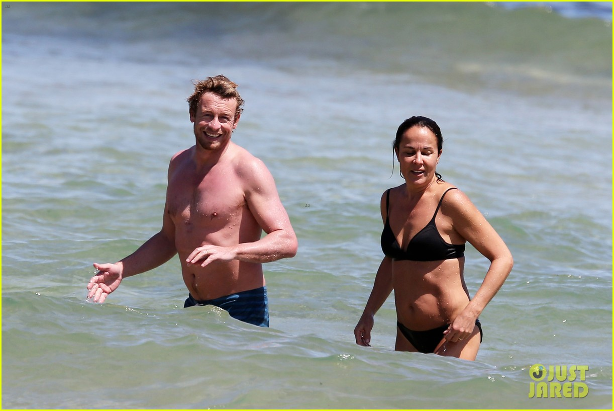 simon baker shirtless beach day with wife rebecca rigg 073012997