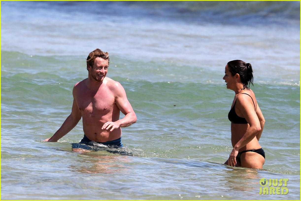 simon baker shirtless beach day with wife rebecca rigg 153013005