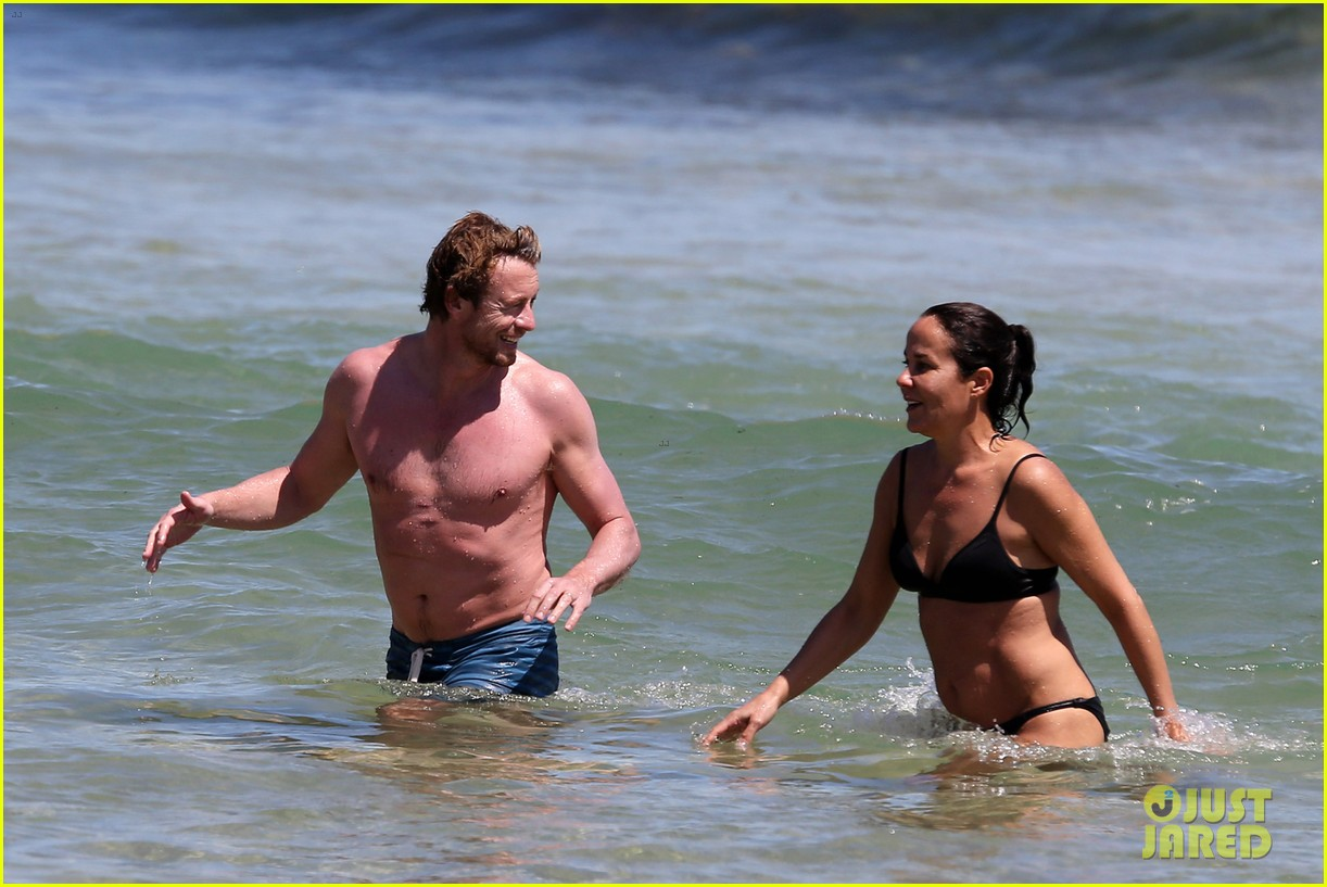 simon baker shirtless beach day with wife rebecca rigg 163013006